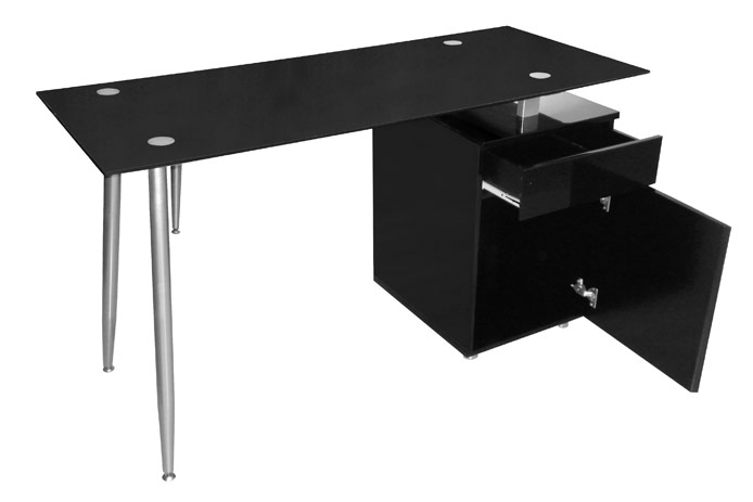 Mesa de estudio barata negra outlet de muebles for Mesas estudio cristal