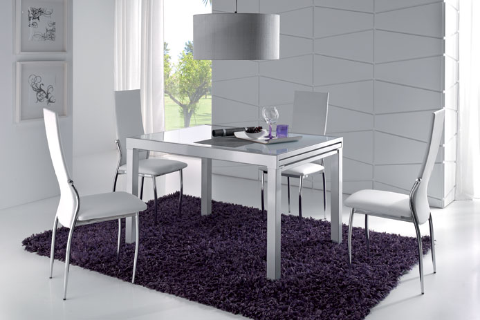 Mesa comedor extensible y cristal negro outlet de muebles - Mesas comedor extensibles cristal ...