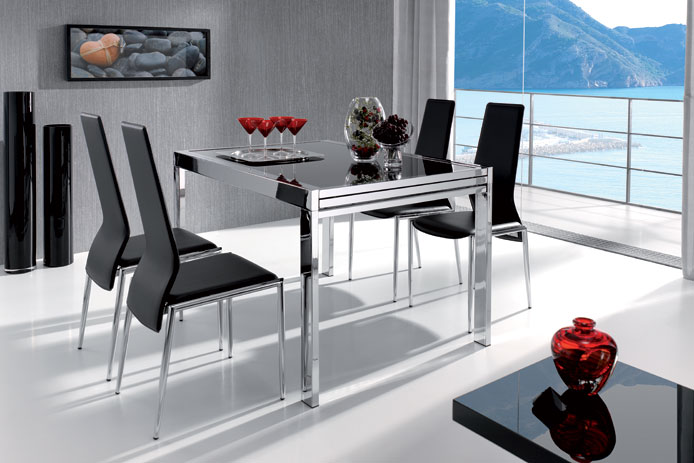 Mesa de comedor extensible goriz outlet de muebles for Mesas de salon extensibles baratas