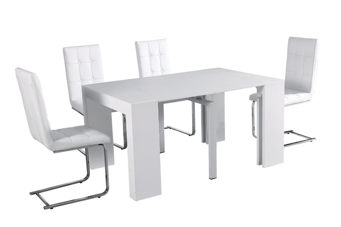 Mesa de comedor plegable varias posiciones outlet de muebles for Mesas plegables salon diseno
