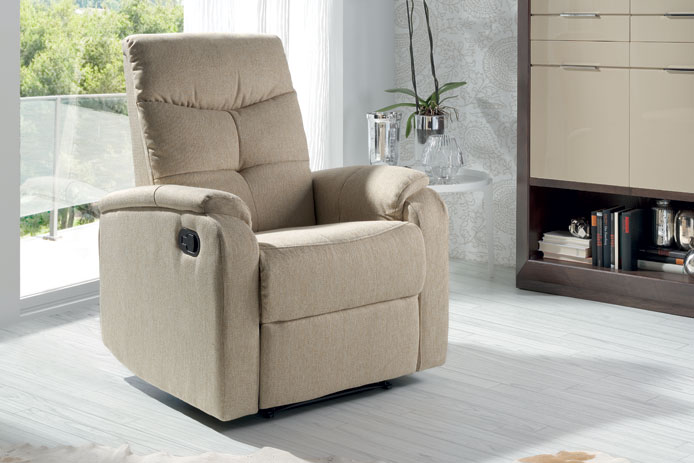 Sill n relax tela outlet de muebles for Sillon reclinable tela