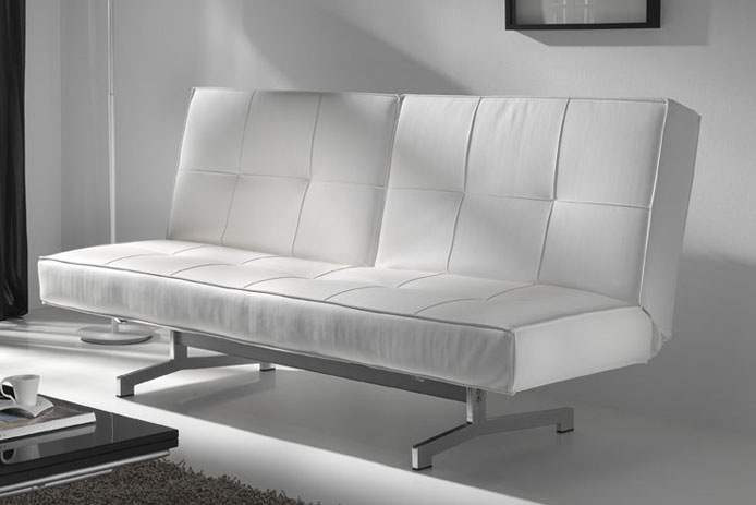Sof cama luna ecopiel color blanco outlet de muebles for Sofa blanco barato